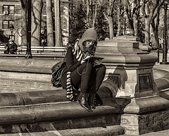 """Student in Washington Square Park Sitting At Fountain Location (nrhodesphotos(the_eye_of_the_moment)) Tags: dsc54923001084 """"theeyeofthemoment21gmailcom"""" """"wwwflickrcomphotostheeyeofthemoment"""" portrait monochrome girl student washingtonsqpark fountain marble bokeh manhattan nyc metal streetlights benches candid outdoors"""