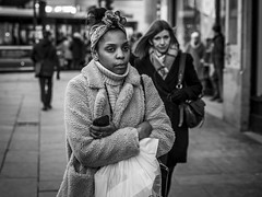 The Biting Cold (Leanne Boulton) Tags: urban street candid portrait portraiture streetphotography candidstreetphotography candidportrait streetportrait eyecontact candideyecontact streetlife woman female girl face eyes expression mood feeling atmosphere cold icy winter weather fur furry coat warmth wrapped tone texture detail depthoffield bokeh naturallight outdoor light shade city scene human life living humanity society culture lifestyle people canon canon5dmkiii 70mm ef2470mmf28liiusm black white blackwhite bw mono blackandwhite monochrome glasgow scotland uk