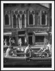 workers and tourists (Andrew C Wallace) Tags: workers tourist barge boat murano venice venezia italy italia blackandwhite bw infrared ir microfourthirds m43 thephotontrap olympusomdem5mk2 tiltshift homemadelens