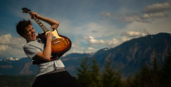 Rockin Out Part 1 (RoselliDigitalJr) Tags: model guitar sony a7rii outdoor sunset afternoon day landscape portrait mountian sky