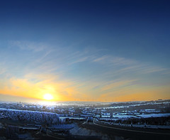 Kilbirnie Sunset Snow1(5) (g crawford) Tags: kilbirnie ayrshire northayrshire road sunset sundown yellow orange windfarm winfarm windmills fairliemoor dalrymoor dalry snow white ice coldwinter gloaming