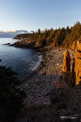 First Light On Monument Cove_27A7841 (Alfred J. Lockwood Photography) Tags: alfredjlockwood nature monumentcove landscape cliff rocks forest acadianationalpark atlanticocean atlanticcoast autumn morning sunrise sea water clouds