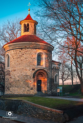 The rotunda of St Martin, Vyšehrad (PeterFineart) Tags: rotunda vyšehrad prague praga praha prag capital europe explore city citycenter cityview cityscape citypark roof buildings architecture sunny sun sunset sunshine sky blue clouds moody town bigcity red building tree water skyline landscape forest dusk park bridge river tower