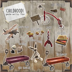 ..::THOR::.. Childhood! - Gacha Set - TLC March Round (plus gift) (andraus thor) Tags: childhood tricicle cart girl kid baby furniture vintage market garagesale book spin plane toy toys secondlife 3d virtual decor props trike oldies memories memorabilia metaverse mesh