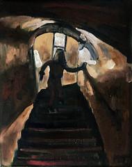 Down to the vault (The Big Jiggety) Tags: art oil painting huile peinture oleo lienzo dracula castle stairs romania kunst arte eerie creepy