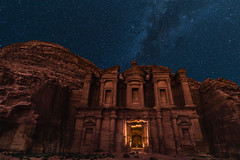 The Last Man In Petra (Trent's Pics) Tags: milky way night photography rose city the monastery unesco world heritage site wonders albatra ancient arab astrophotography jordan maan nabatean people petra raqmu ruins stars universe