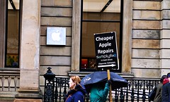Cheeky (matthewblackwood10) Tags: street scotland glasgow city centre sign apple funny buchanan stone logo fun rain wet march winter outside uk people advert competition