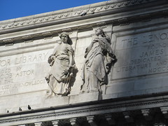NY Public Library - Attic Allegorical Statue - Romance and Religion 3571 (Brechtbug) Tags: new york public library attic statues above main entrance 5th ave facade city caryatid atlantid 2019 nyc 03112019 art architecture designed by artist sculptor paul wayland bartlett carved the piccirilli brothers was two lions six allegorical figures represent l r history romance religion poetry drama philosophy