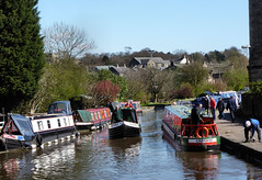 Busy canal. (Country Girl 76) Tags: canal leeds liverpool skipton boats barges people towpath water reflections sky trees