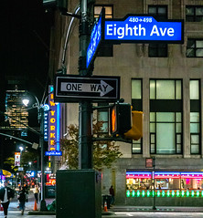 Eighth Ave (Jocey K) Tags: sonydscrx100m6 triptocanadaandnewyork architecture street people newyorkerhotel hotel cab car illuminations signs signpost