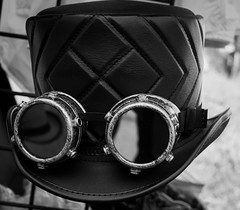 Steampunk hat with goggles (Tex Texin) Tags: sanjuanbautista fair mission steampunk goggles hat tophat object