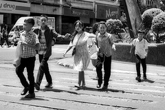 Stopping Traffic (Beegee49) Tags: people street children crossing stop blackandwhite bw monochrome happy planet luminar sony a 6000 bacolod city philippines asia