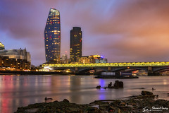 One Blackfriars (stewartl2010) Tags: shoreline thames reflections blackfriarsbridge cityscape thevase lowtide longexposure london river colorefexpro4 nikfilters evening brokenclouds skyline uk oneblackfriars england unitedkingdom gb