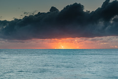 Sun Lights Up! Sunrise Seascape with Cloud Bank (Merrillie) Tags: daybreak sunrise nature water avocabeach clouds rocky centralcoast newsouthwales rocks earlymorning nsw morning sea ocean sunrays landscape waterscape coastal waves sky seascape dawn coast australia outdoors