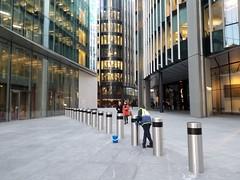 Polishing the Bollard (m.gifford) Tags: london uk greatbritain england bollard security