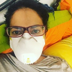 trying on my new air pollution mask (olive witch) Tags: 2018 abeerhoque bangladesh bd dec18 december dhaka indoors me night