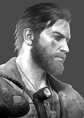 """""""Attention"""" (L1netty) Tags: madmax avalanchestudios warnerbros pc game gaming pcgaming videogame reshade screenshot virtual digital 6k srwe character max man male people portrait face beard blackandwhite monochrome bw"""