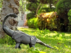 Brachiosaurus (Rohit KO) Tags: origami papercraft paperfolding fold paper art brachiosaurus shuki kato rohit ko elephant hide nature dark grey study garden