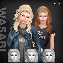 New Melon style @ Uber! (Wasabi // Hair Store) Tags: mesh hair secondlife wasabipills 3d league aviglam maitreya catwa glamaffair minimal zenith randommatter izzies pinkfuel kibitz tresblah