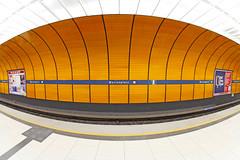 Marienplatz (CoolMcFlash) Tags: subway station marienplatz munich germany fisheye canon eos 60d sigma 10mm orange nobody ubahn münchen city stadt urban architecture architektur fischaue niemand fotografie photography symmetry symmetrie fahrscheinkontrolle awiiiiiiiiiiiiiiiiiiiiiiiiiiiiiiiii