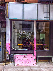 """""""YaY!"""" - Reflections and Shadows for a """"Happy, Happy New Year 2019 To All"""" (nrhodesphotos(the_eye_of_the_moment)) Tags: pc3100373001084 yay happyhappynewyeartoall storewindow reflections shadows metal glass customers coffeeshop les interior exterior outdoors girl displays signs cellar brick pink sidewalk"""
