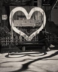 Heart (Bill Morgan) Tags: olympus penf 40150 bw jpeg luminar3 mitaka tokyo street