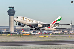 Emirates A380 (alundisleyimages@gmail.com) Tags: airbus a380 emirates manchesterairport flight takeoff rotation aviation commercialflight transport passengers tower control pilots travel tourism runway weather england uk engines frost winter cold