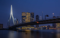 Erasmus... (Aleem Yousaf) Tags: urban city architecture bridge skyscraper high rise skyline water river sky clouds overcast blue hour twilight morning long exposure nikkor nikon wideangle netherlands nederlands rotterdam erasmus zuid erasmusbrug outdoor world travel lights muted reflections holland modern combined digital camera cable style bascule connection north south desideriuserasmus erasmusofrotterdam building
