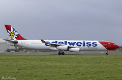 Edelweiss Air A340-300 HB-JMD (birrlad) Tags: shannon snn international airport ireland aircraft aviation airplane airplanes airline airliner airlines airways taxi taxiway takeoff departing departure runway diversion airbus a340 a343 a340300 a340313 edelweiss air hbjmd