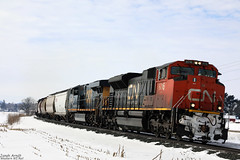 CN 8016 (Western WI Rail Images) Tags: cn canadianpacific canadian national cp csxt train snow sun clouds trees grass locomotive