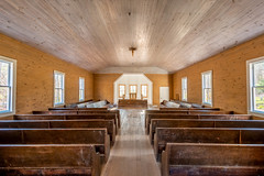 1915 Church (Ronda Hamm) Tags: 1022mmf3545usm 70d cadescove hdr smokymountainsnationalpark tennessee alter architecture building canon church pews tripod walls wood