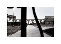 the stable (klatzeek) Tags: 35mm stable film foma bw architecture summer yashica frame lines perspective moravia czechrepublic gate