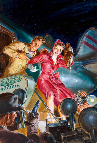 Dead Air, Dime Detective Magazine, June 1951, cover by Norman Saunders