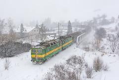 Za polárnym kruhom   131.082 + 131.081   ZSSK Cargo   Ľubotín - Plaveč (lofofor) Tags: electric dvojička 131 081 082 zsskcargo cargo haniska trať188 muszyna ľubotín plaveč pustépole lipany sk sr svk slovakia slovensko zima sneh snow winter storm snowstorm locomotive rail railways
