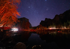 Winter Yosemite Valley Night Scape (ryanl1251) Tags: yosemite yosemitevalley valley california river night sky stars nightsky astrophotography nightscape photography outdoors adventure travel elcapitan constellations long exposure reflection winter starry rocks car trails red three brothers canon canon6d