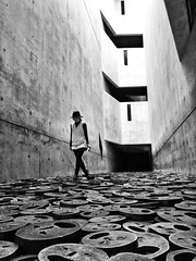 Facing the past~ Berlin (~mimo~) Tags: installation fallenleaves sculpture art artist menashekadishman photography street faces minimal blackandwhite jewish museum berlin deutschland germany