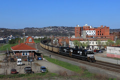 No longer possible (GLC 392) Tags: ns coal train norfolk southern 554 loaded emd sd70ace 1002 1012 depot homestead pa pennsylvania downtown down town mon line station cant do any more railroad railway hills braddock hill background