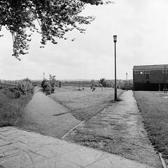 Junction on Castle Field Path Basingstoke, 1981 (1) (Cross Duck) Tags: ilfordpanf basingstoke oldbasingstoke oldphotograph blackandwhite monochrome mediumformat ilfordfilm mamiyac220 mamiyaflex