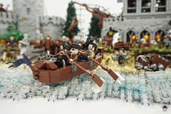 Lond Daer - Bringing war supplies to shore (Barthezz Brick) Tags: lego lond daer middle middleearth medieval fantasy moc afol barthezz barthezzbrick brick custom lotr lord rings lordoftherings shipyard pub castle wall city
