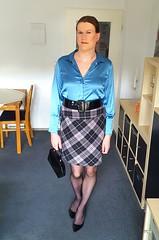 Just me (Rikky_Satin) Tags: silk satin blouse checkered skirt pantyhose nylons crossdresser transgender tgirl tgurl secretary
