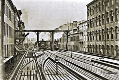 Ninth Avenue El, Manhattan, looking south from 49 Greenwich Street, 1891. (over 14 MILLION views Thanks) Tags: steamlocomotives forney 040 9thaveelevated irt newyorkcity manhattan elevated railroad el
