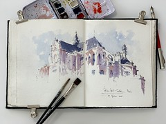 Paris - sketching in the beautifully warm sunlight on a Saturday afternoon. Église Saint-Eustache with USKParis. (alexhillkurtzart) Tags: urbansketch usk inkandwash watercolor paris