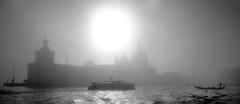 Santa Maria della Salute in the Fog - Number 2 (photofitzp) Tags: bw blackandwhite fog grandcanal italy venice gondola vaporetto water