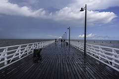 shorncliffe pier (Greg Rohan) Tags: australia people blue boardwalk shorncliffepier pier shorncliffe brisbane queensland qld sandgate wet clouds saltwater sea ocean water d750 2018 nikon nikkor seaside sky lines