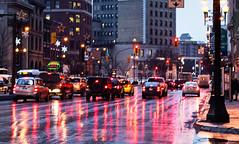 Crosstown Traffic (roughtimes) Tags: crosstown traffic winnipeg manitoba explorewpg 2feetandaheartbeat thisiswhatidoonmybreaks canon d70 refelction red lights break glow wet winter gridlock signs