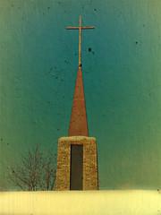 Steeple and Cross (Dave Linscheid) Tags: jesuschrist sonofgod christianity faith redeemer religion picmonkey texture textured mtlake cottonwoodcounty minnesota usa mn church snow