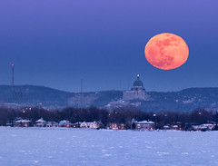 snow-moon rising over Montreal (marianna armata) Tags: snow moon full round oval stjosephsoratory montreal quebec canada winter mariannaarmata urban supermoon