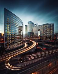 Business District of La Défense (Beboy_photographies) Tags: ladéfense la defense paris france cityscape long exposure light trail trails city traffic beboy blue hour