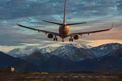 Landing (free3yourmind) Tags: landing plane airplane airport mountains snow caucasus batumi georgia travel sunset clouds cloudy day turkish airlines