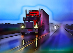 Rollin Across America (Vern Krutein) Tags: peterbilt interstatehighway twilight dusk dawn semitrailertruck semi kansas scenics midwest usa vehicle cargo transportation commerce transport freightage hauling shipping shipment trucking trucks commercial commercialshipping industry archives history abstract paintography artography rain wet road vctd02232
